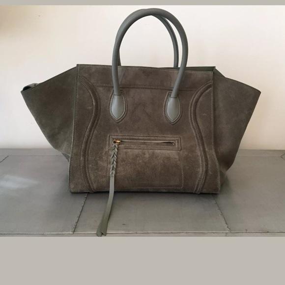 721dbc8c4 Celine Bags | Grey Suede Phantom Luggage Tote Large | Poshmark
